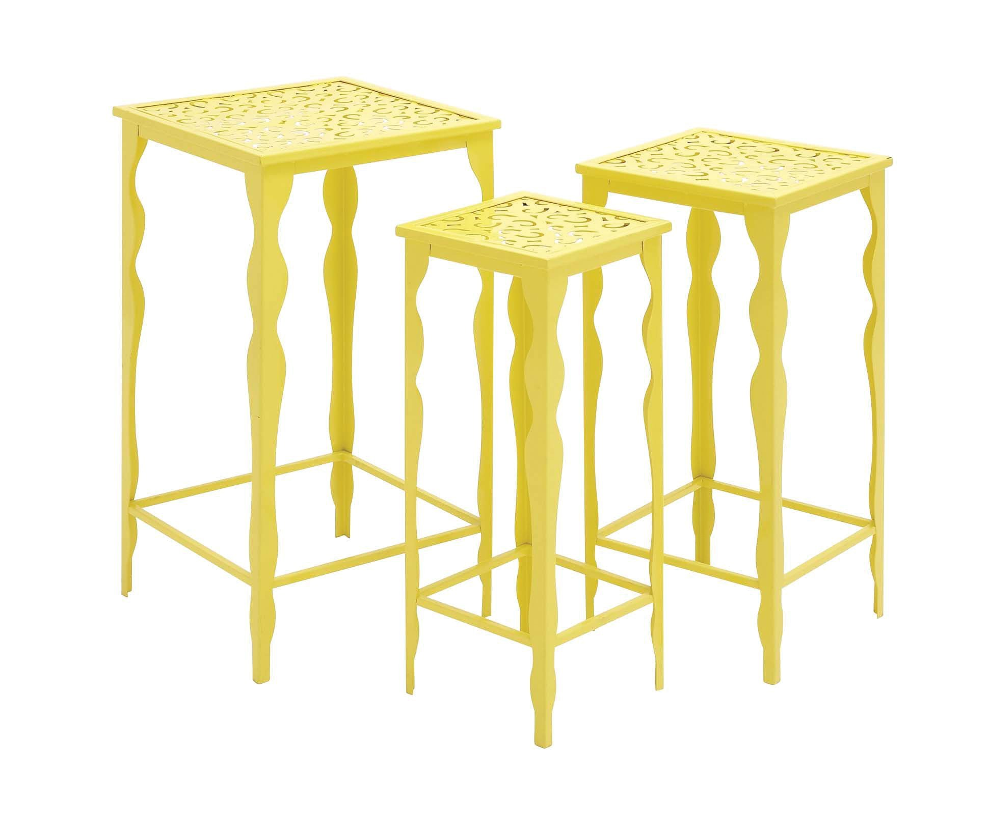 The Funky Set of 3 Metal Plant Stand by Benzara