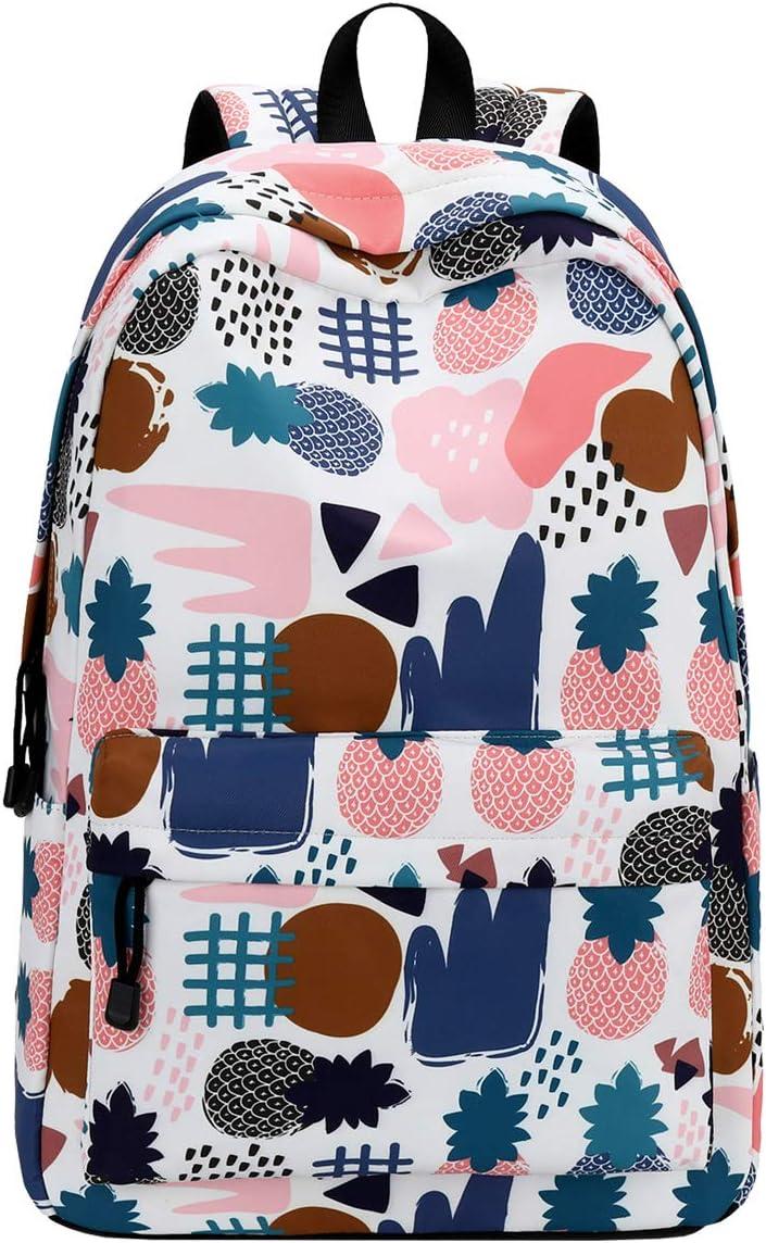 Choco Mocha Girls Pineapple Backpack School Backpacks for Girls Teens School Bag Women Bookbag with Side Pocket 15.6 Inch Laptop Sleeve Gift White