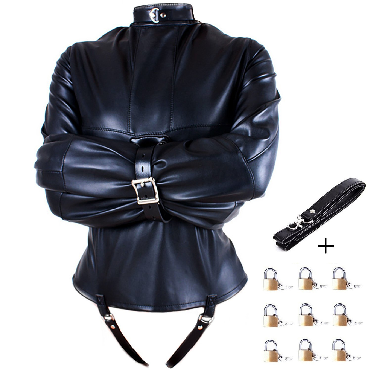 Aaijia Unisex Adjustable High Neck Leather Harness Arm Lockable Back Belt Tight Shirt