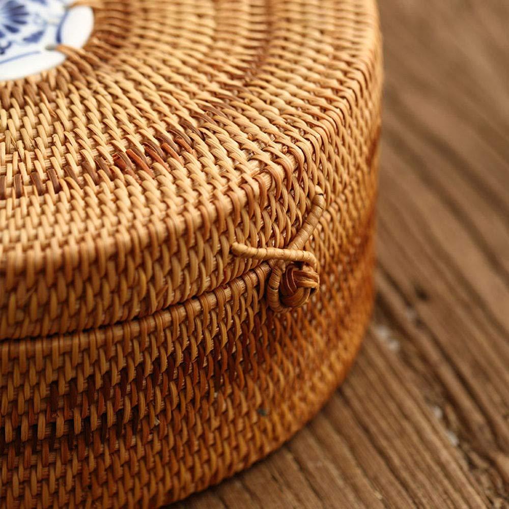 Handmade Rattan Woven Pu-erh Tea Cake Storage Box Canister Kitchen Container