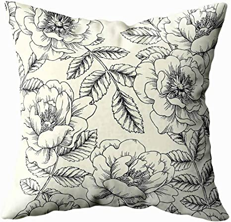 Amazon Com Musesh Christmas Pillow Covers Seasonal Vintage Botanical Pattern Of Hip Rose Floral Texture Background With Wild Flowers And Branches Leaves Sketch Style 20x20inch For Sofa Decorative Pillowcase Home Kitchen