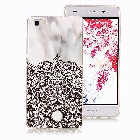 Funda Mármol para Huawei P8 Lite, Ronger Carcasa Gel TPU Silicona Marble Case Cover Funda Ultra Fino Flexible con Patrón de Piedra para Funda Huawei ...