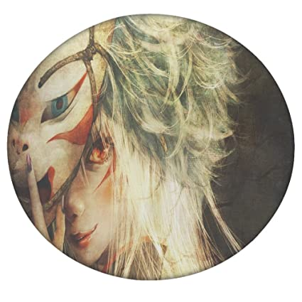 Firey Eyed Mujer detrás de la máscara redonda de Mandala tapiz, Hippie Hippy estilo,