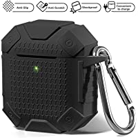 Airpods Case - Heavy Duty Armor Shockproof Wireless Charging Airpod Cover, Compatible for Apple AirPods 1 & 2 (Black)