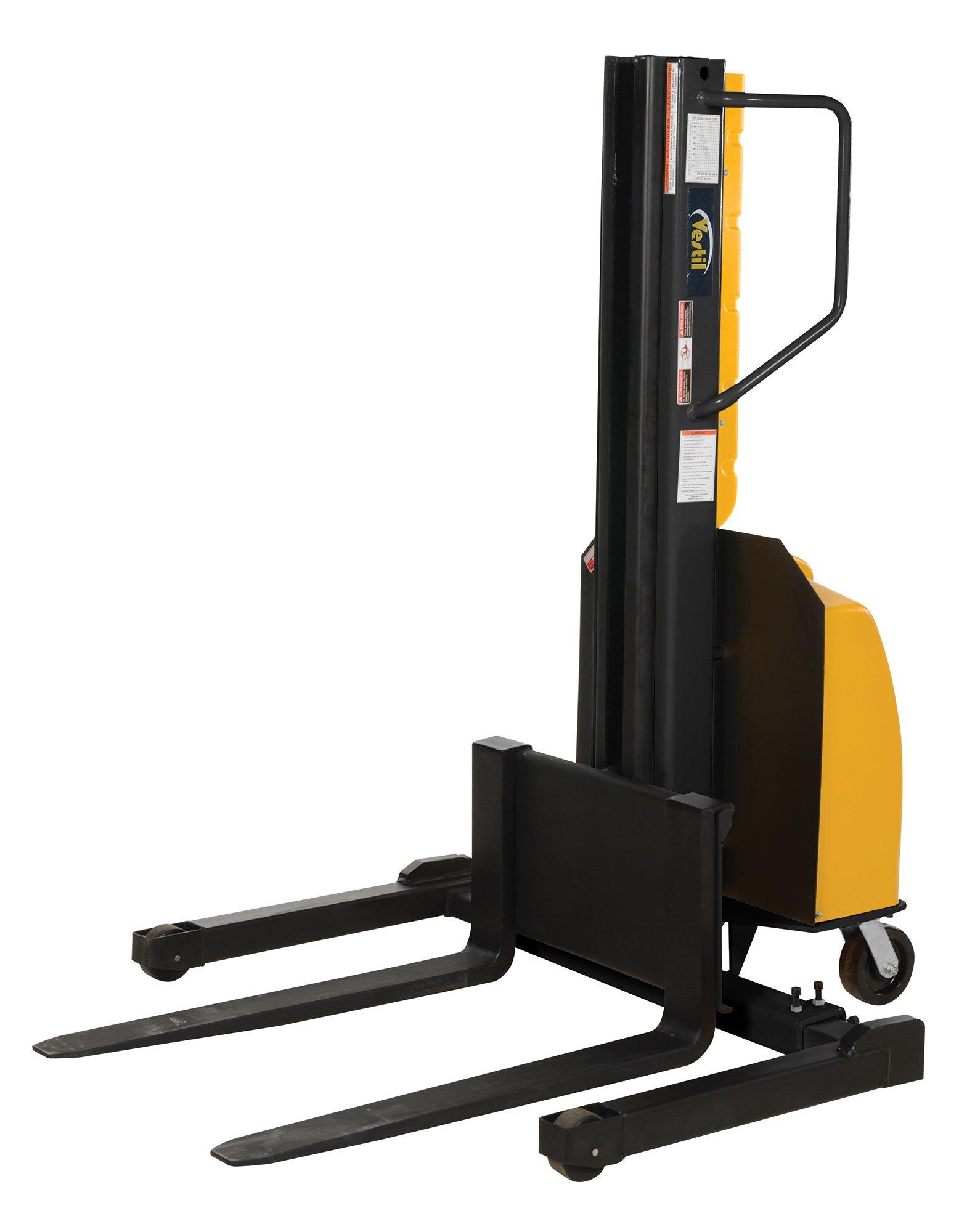 Vestil SLNM-98-AA Stacker Power Lift Adjustable Fork, 98'', Yellow