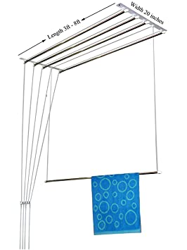 RAINBOW DRYWELL 5 Pipes Luxury Stainless Steel Cloth Dryer (8 Feet, White and Silver) Drying Racks at amazon