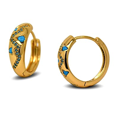UK Womens 18ct Gold Filled Unique Round Small Creole Drop Stud Hoop Earrings