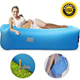 Motenik Inflatable Lounger Air Sofa, Hangout Couch Sofa Bed with Headrest and Side Pockets Waterproof & Anti-Air Leaking Air Chair for Traveling Camping Hiking Park Pool Beach Festivals