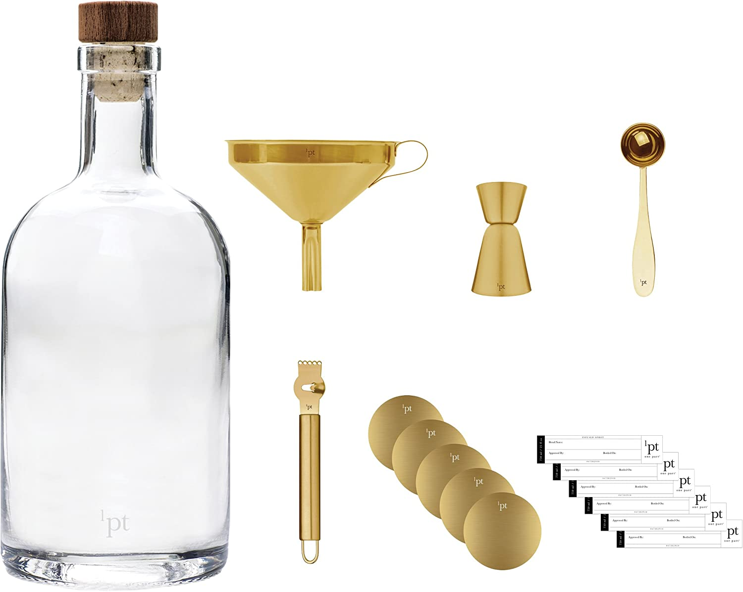 Teroforma 1pt Bar Bottle Kit Home Bar Tools for Infused Cocktails 7-Piece Set