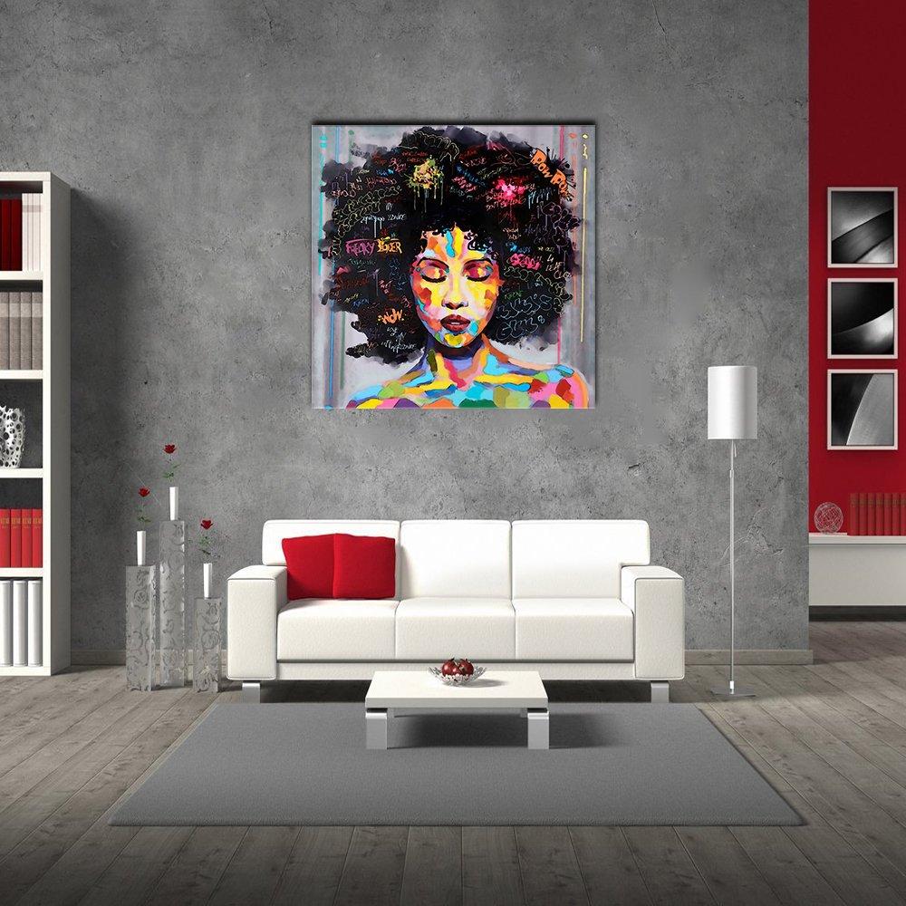 VIIVEI coloré Mur Art Abstrait Neuf Graffiti Street Moderne Africaine Femme Femelle Portrait Peinture sur Toile sur des Impressions pour Le Salon Cadre en Bois 20x20inch E