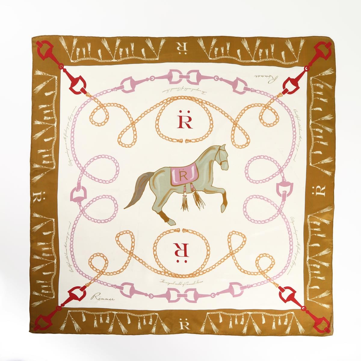 乗馬用品 RONNER カルーセル シルク スカーフ ゴールデンカーキ 乗馬 馬具
