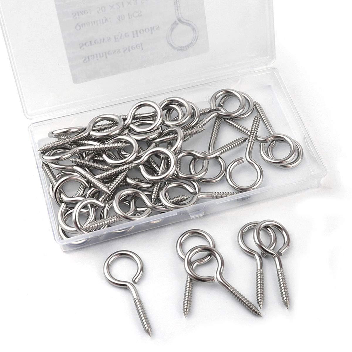 Wood Terminal Ring Eye Hooks 40 Pcs 2 inch 304 Stainless Steel Self Tapping Eye Screws Metal Hook