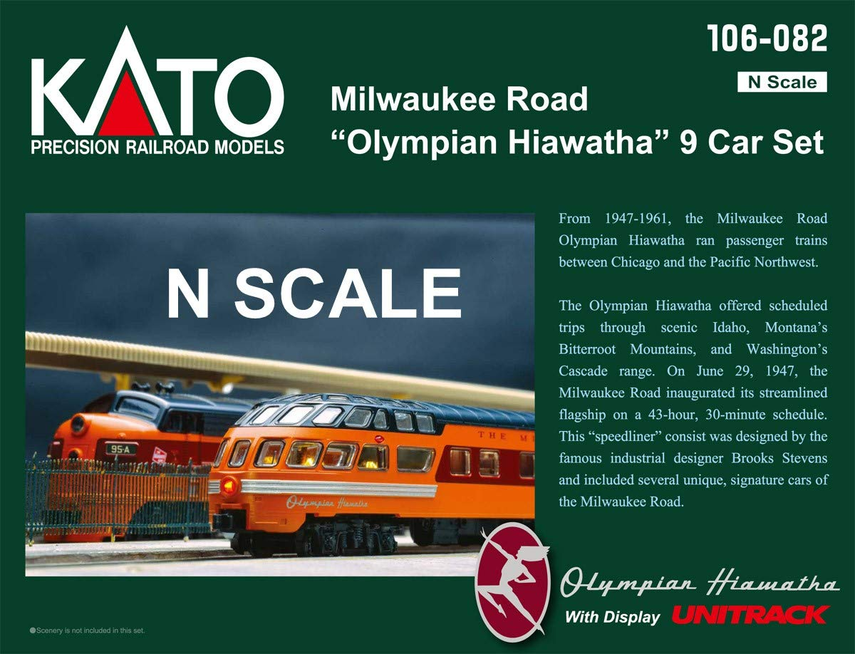 Kato USA Model Train Products N Milwaukee Road Olympian Hiawatha 9-Car Set Passenger Car Set
