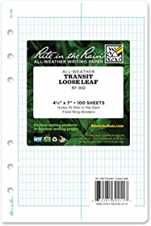 """product image for Rite In The Rain Weatherproof Loose Leaf Paper, 4 5/8"""" x 7"""", 32# White, Transit Pattern, 100 Sheet Pack (No. 302)"""