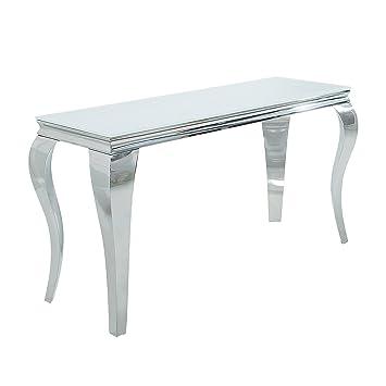 Konsolentisch Modern konsolentisch modern barock 140cm weiß opalglas beistelltisch tisch