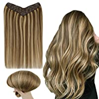 RUNATURE Clip Hair Extensions 20 Inches Color 4P27 Chocolate Brown Mix Honey Blonde...