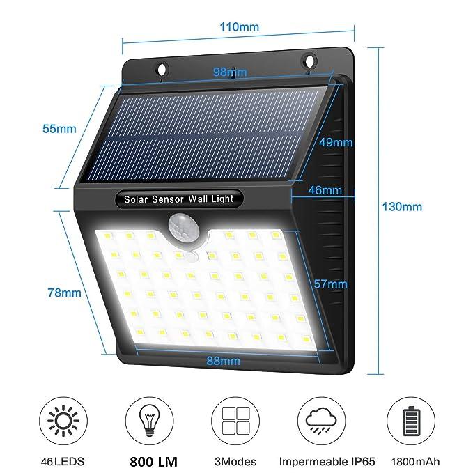 Luz Solar Jardín,Yacikos 4 Paquetes 46 LED Foco Solar 1800mAh Lámpara Solar Exterior con Sensor de Movimiento, Luces de Pared Solares Seguras Impermeables ...