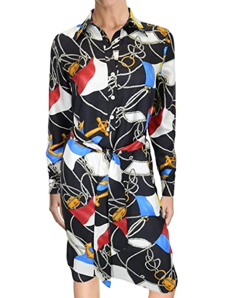 Ralph Lauren Nautical Print Silk Shirt Dress, Black White Multi (2P)