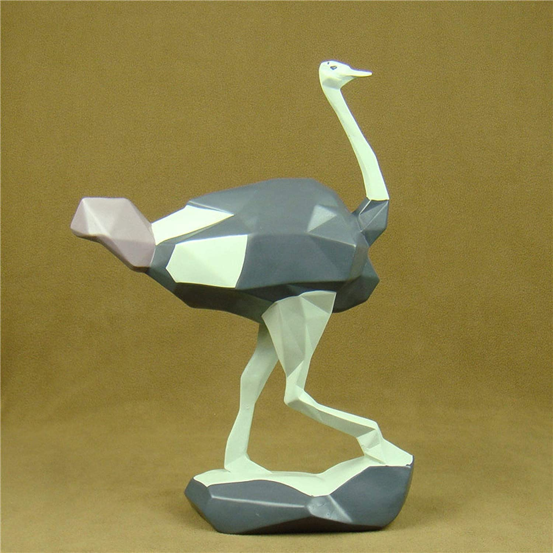 KIKIBEDYZ Statues Sculpture Figurines Statuettes,Geometric Ostrich Design Animal Figurines Art Modern Creative Statues Artwork for Home Garden Corridor Living Room Statuettes Ornaments Decor