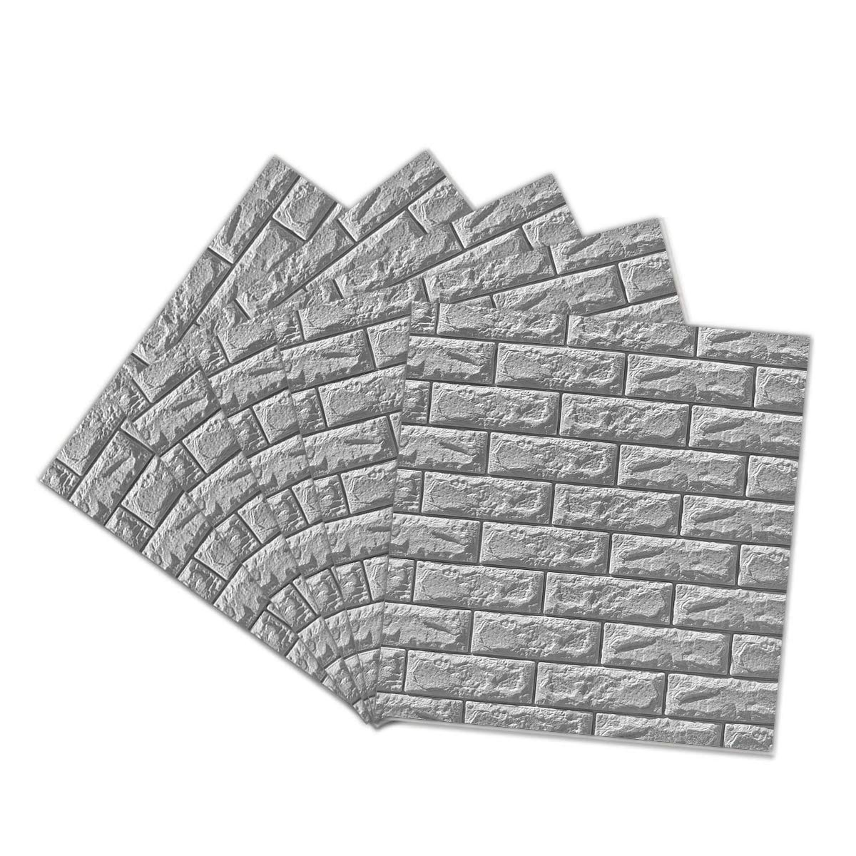 5-Pack 3D Brick Wall Panels Stickers PE Foam Self Adhesive Wallpaper Removable Wall Decoration,27.5''30.30.27''/pcs (Gray)