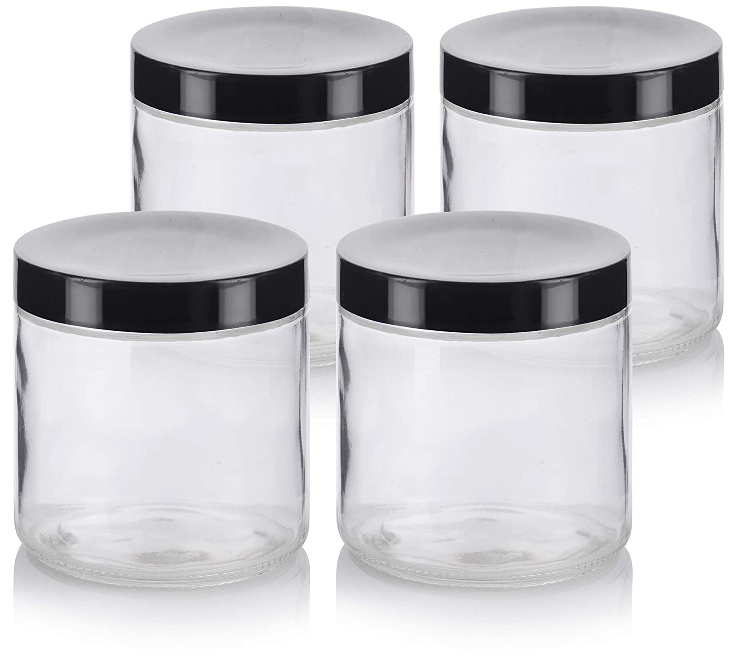 16 oz//480 ml 2 Pack Large Clear Thick Glass Straight Sided Jar with White Foam Lined Lid + Labels JUVITUS