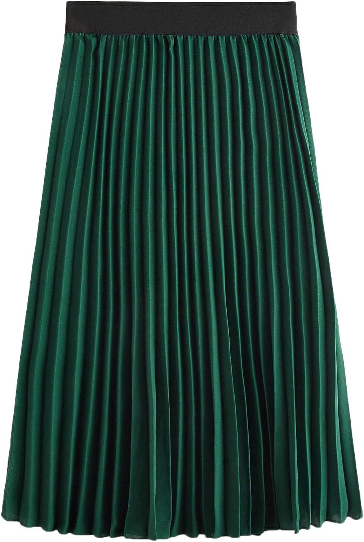 Verdusa Women's Elastic Waist Pleated Solid A line Midi Skirt