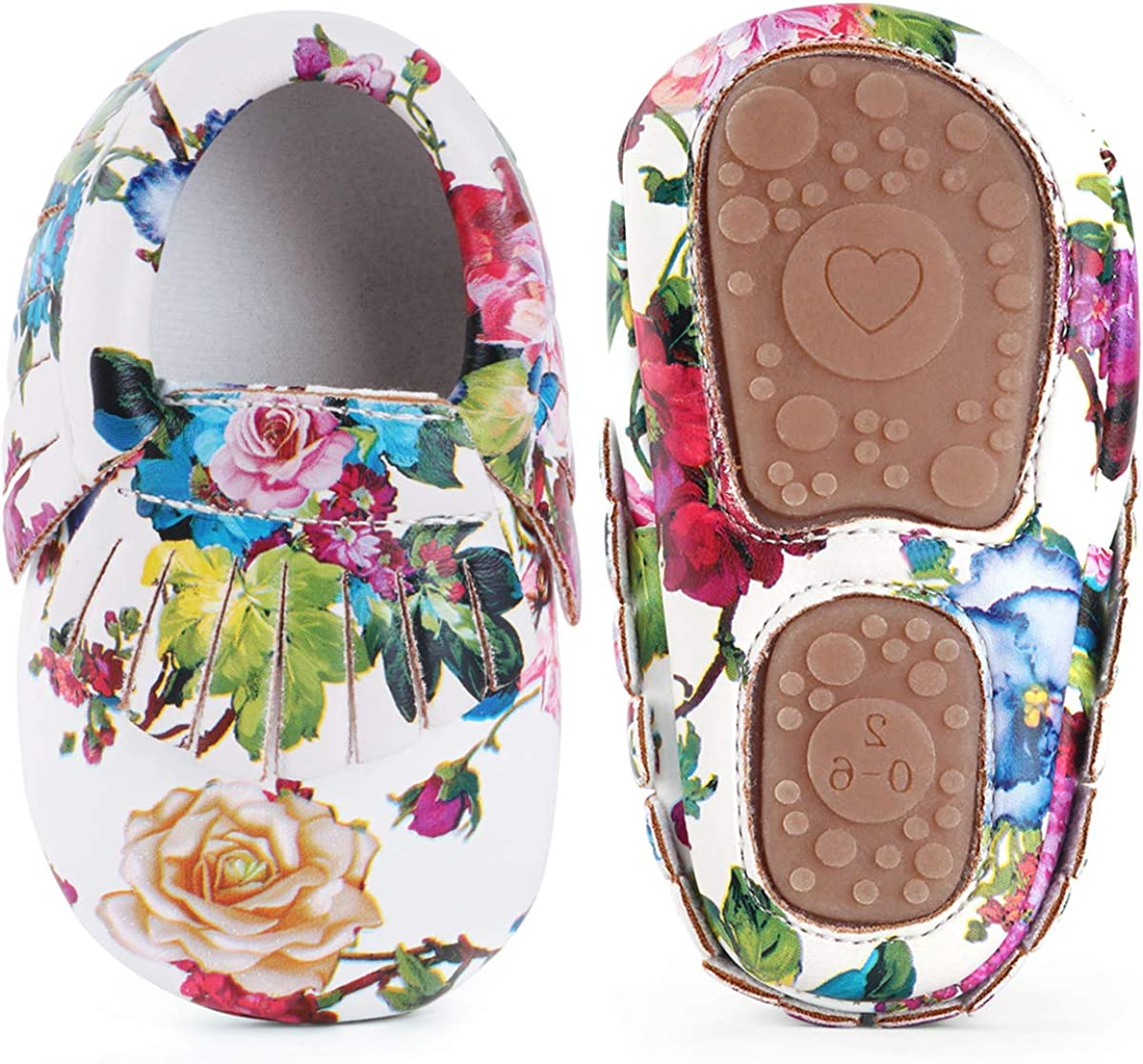 LIVEBOX Infant Baby Girls Shoes Soft Sole Anti-Slip Tassels Mocassins Crib Shoes Prewalker Toddler Rose Print Flower Shoes for 0-18 Months Babies