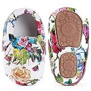 LIVEBOX Infant Baby Girls' Shoes, Soft Sole Anti-Slip Tassels Mocassins Crib Shoes Prewalker Toddler Rose Print Flower Shoes for 0-18 Months Babies
