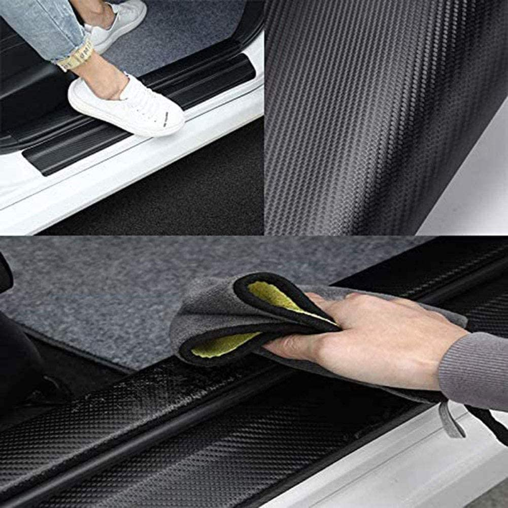 AEVEILS 4 Pcs Door Sills Protector Plate For Citroen Xsara C4 C3 Picasso Carbon Fiber Car Door Sill Protector Welcome Pedal Plate Guards Car Accessories