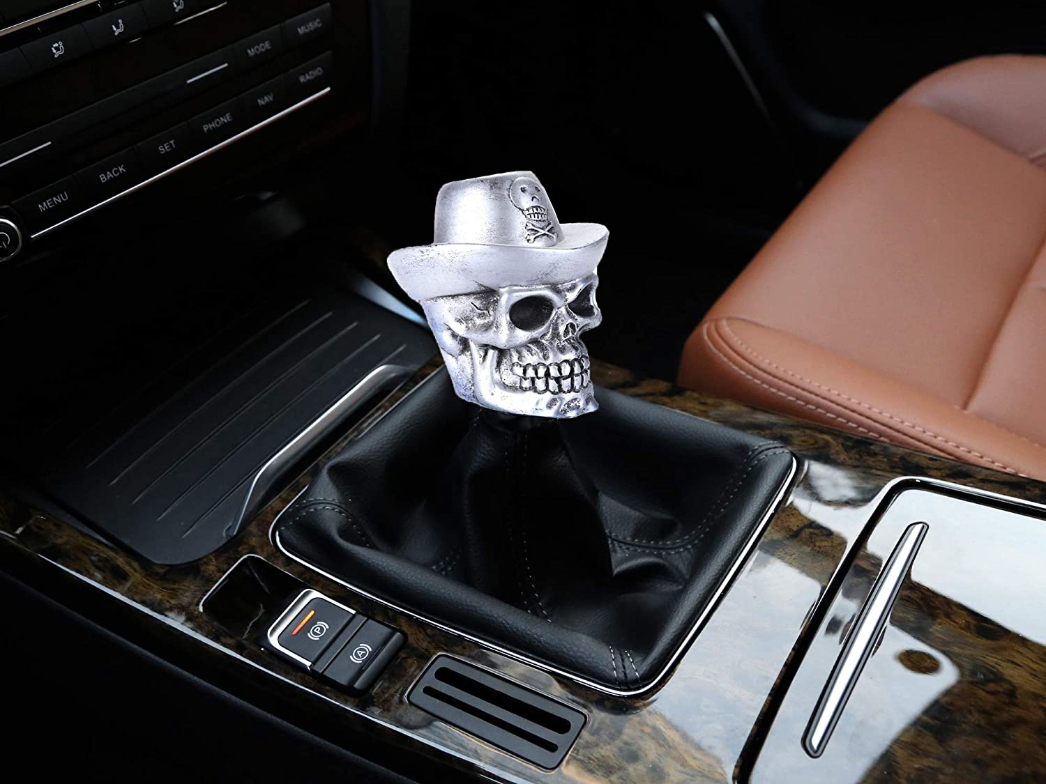 Abfer Truck Shift Knob Skull Car Manual Shifter Knobs Shifting Gear Lever Cowboy Style Fit Most Automatic MT Transmission Vehicles Silver
