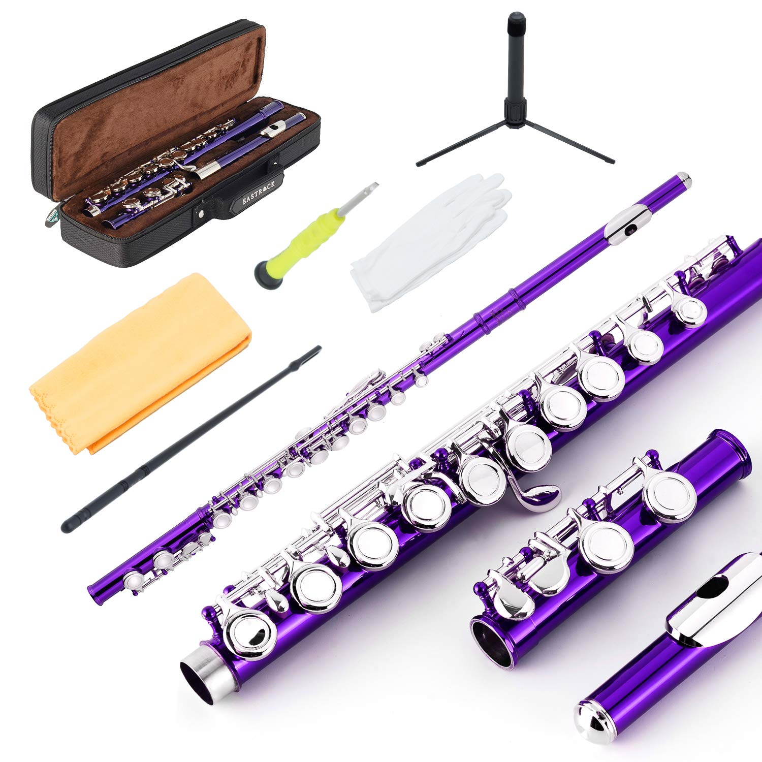 EastRock Closed Hole Flutes C 16 Key for Beginner, Kids, Student -Nickel Flute with Case Stand and Cleaning kit (Purple) by EastRock