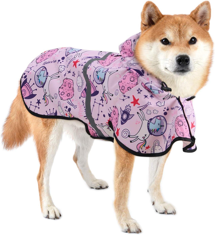 Reflectante y Ajustable, Poncho de Lluvia Impermeable para Perros, color rosa chicle