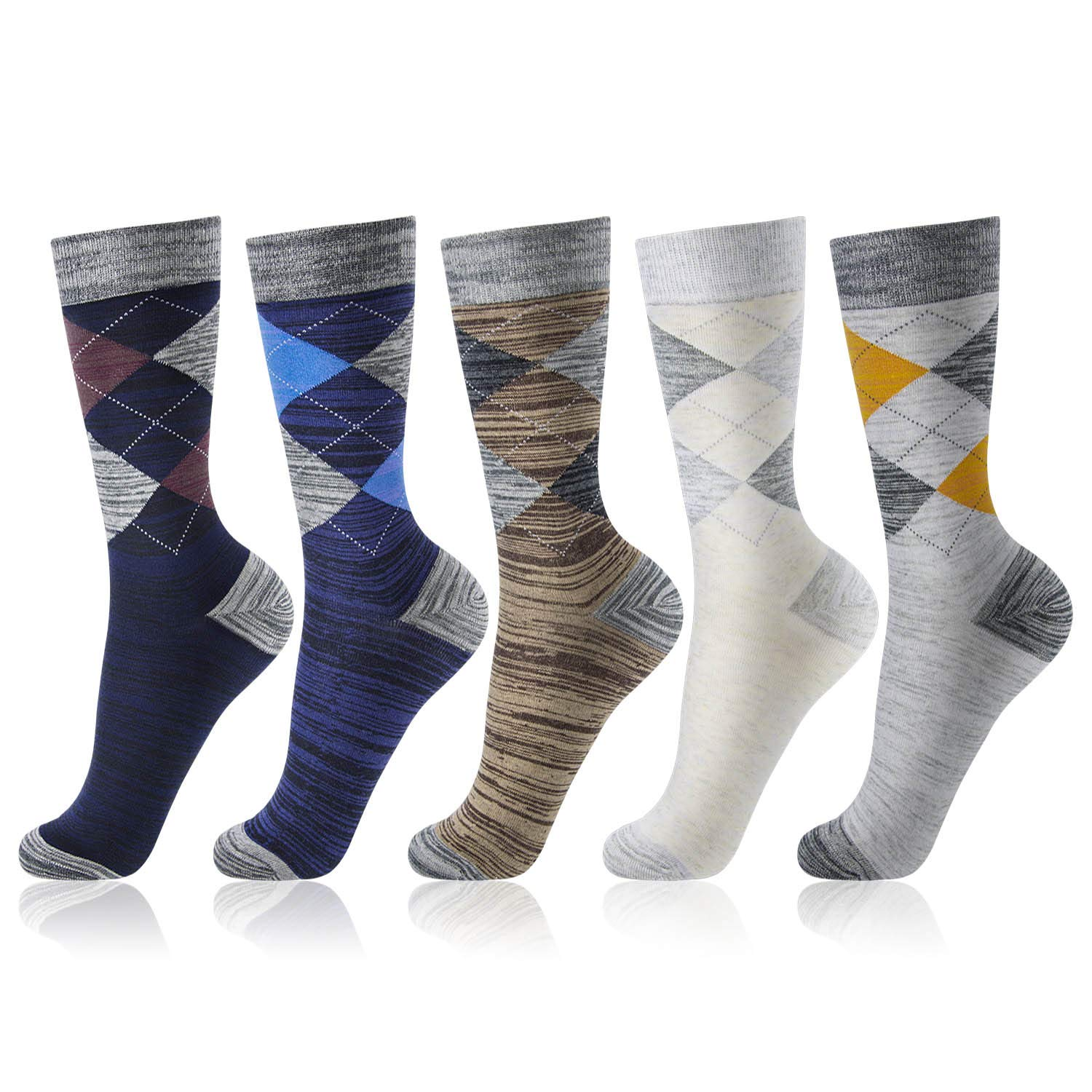 OKISS Men's Cotton Thermal Argyle Socks 5 Packs Colorful Pattened Casual Crew