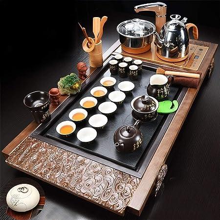 C&J CJ Juegos de té Bandeja de té de Madera sólida, Kung Fu Herramientas de té,