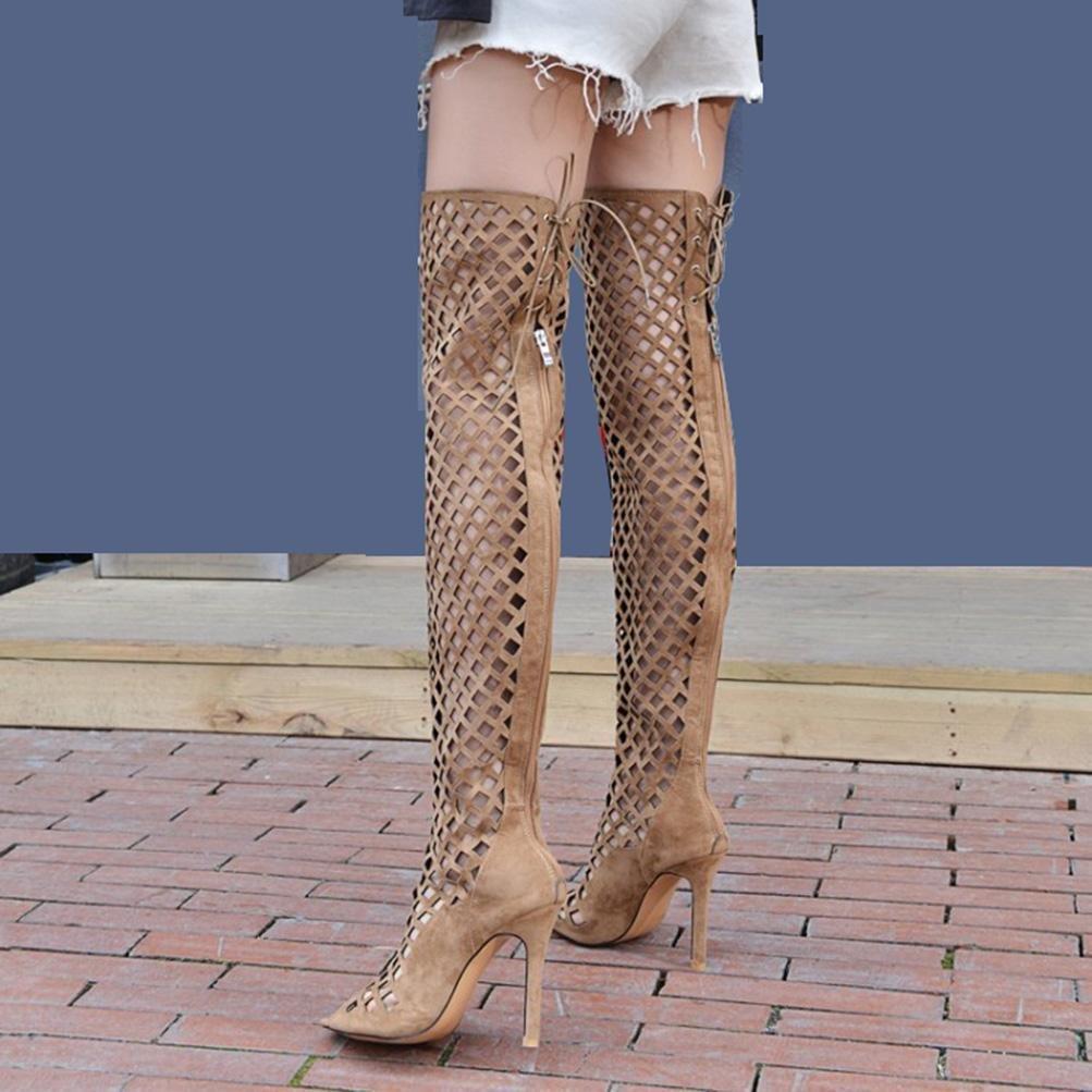 QPYC Damen Sommer Sandalen nach der feine Spitze über Knie Abdeckung feine der Heels hohlen Fisch Mund High Heel Nachtclub Bar Sandalen Stiefel große Größe 32-46 , Braun , 35 - 12531e