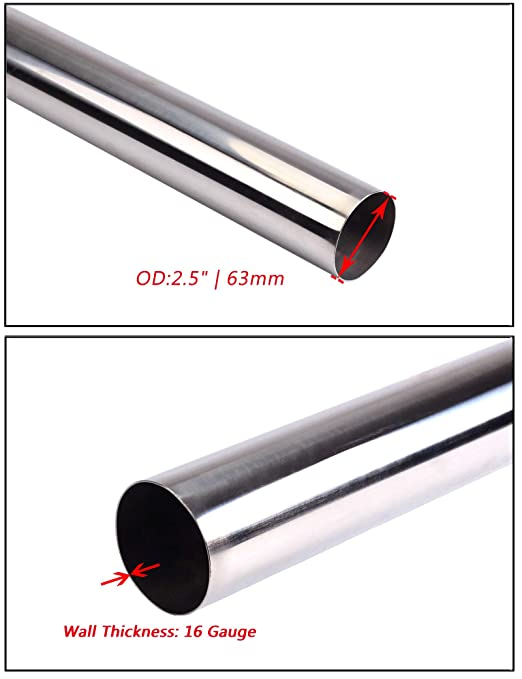 1x 4/' 4 ft Straight T-304 S//S Raw Surface Pipe Tube for Turbo Downpipe Exhaust