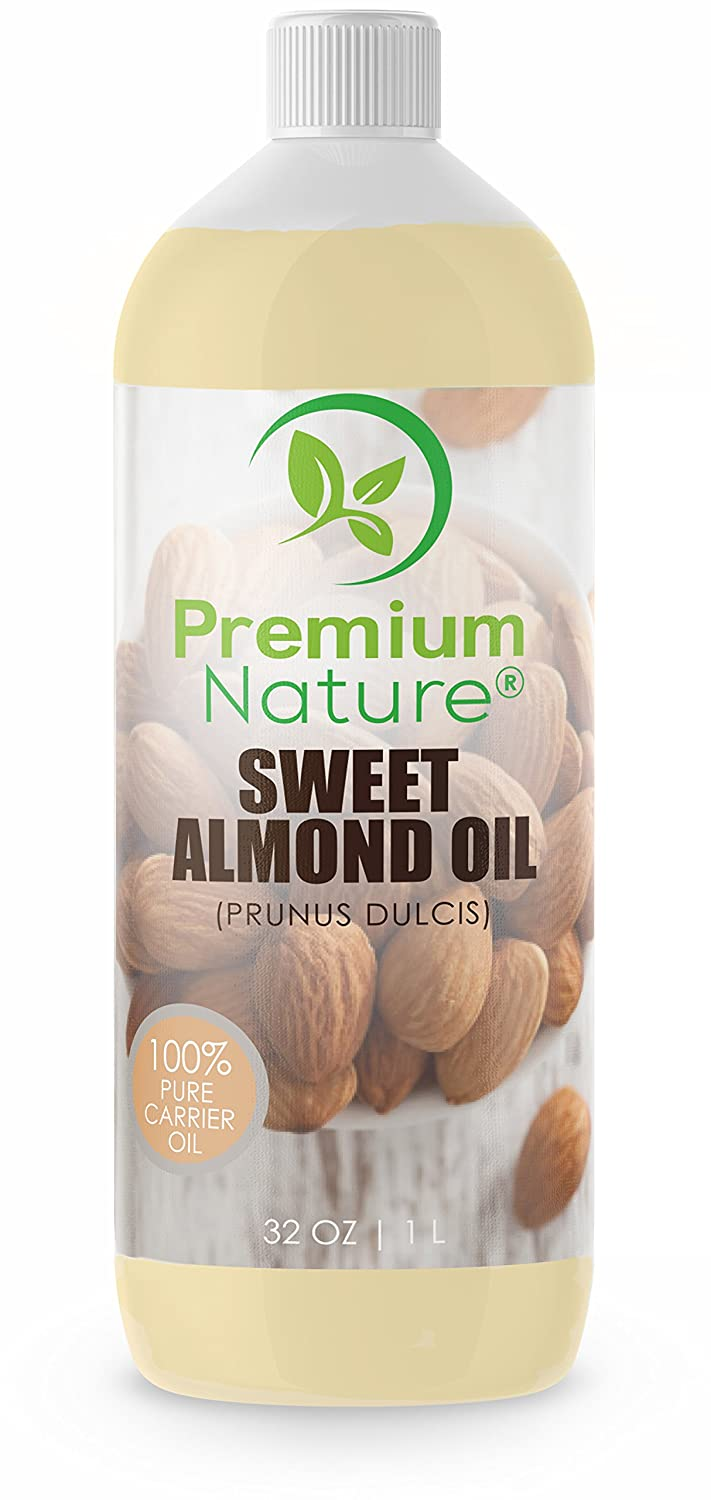 Sweet Almond Oil Best Carrier Oil - 32 oz 100% Natural Pure for Skin & Hair - Cleansing Properties Evens Skin Tone Treats Irritated Skin Nourishes Moisturizes & Prevents Aging Premium Nature