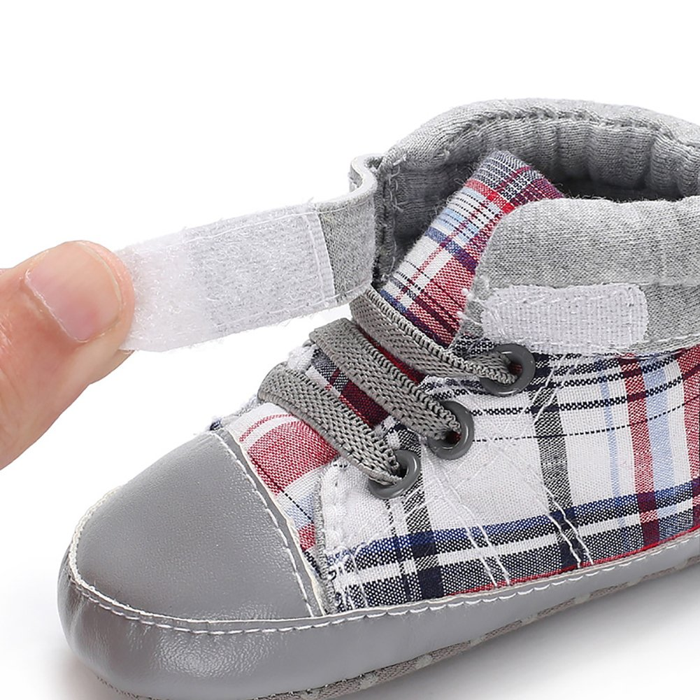Alamana Baby Boys Autumn Casual Comfortable Canvas Plaid Sneakers Sports Shoes Prewalker 3-5M High Cut