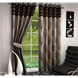 F2L Fresh From Loom Polyester Jute Jacquard Modern Design Contemporary Heavy Eyelet Windows Curtains (4X5 ft, Coffee and Brown) - Set of 2 Pieces