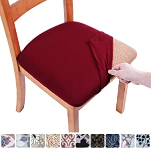 smiry Printed Dining Chair Seat Covers - Stretchy Removable Washable Upholstered Chair Seat Slipcover Protector (Set of 6, Burgundy)