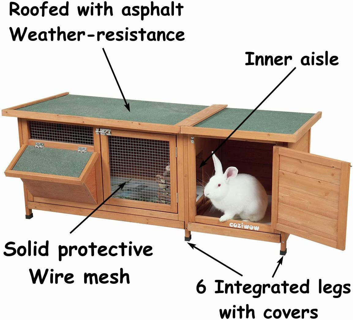 Pets Crate House for Small Animal Dog Cat Squirrel Hamster Hedgehog Guinea Pig Habitat Chicken Coop COZIWOW Indoor Outdoor Wooden Large Rabbit Hutch Bunny Cage