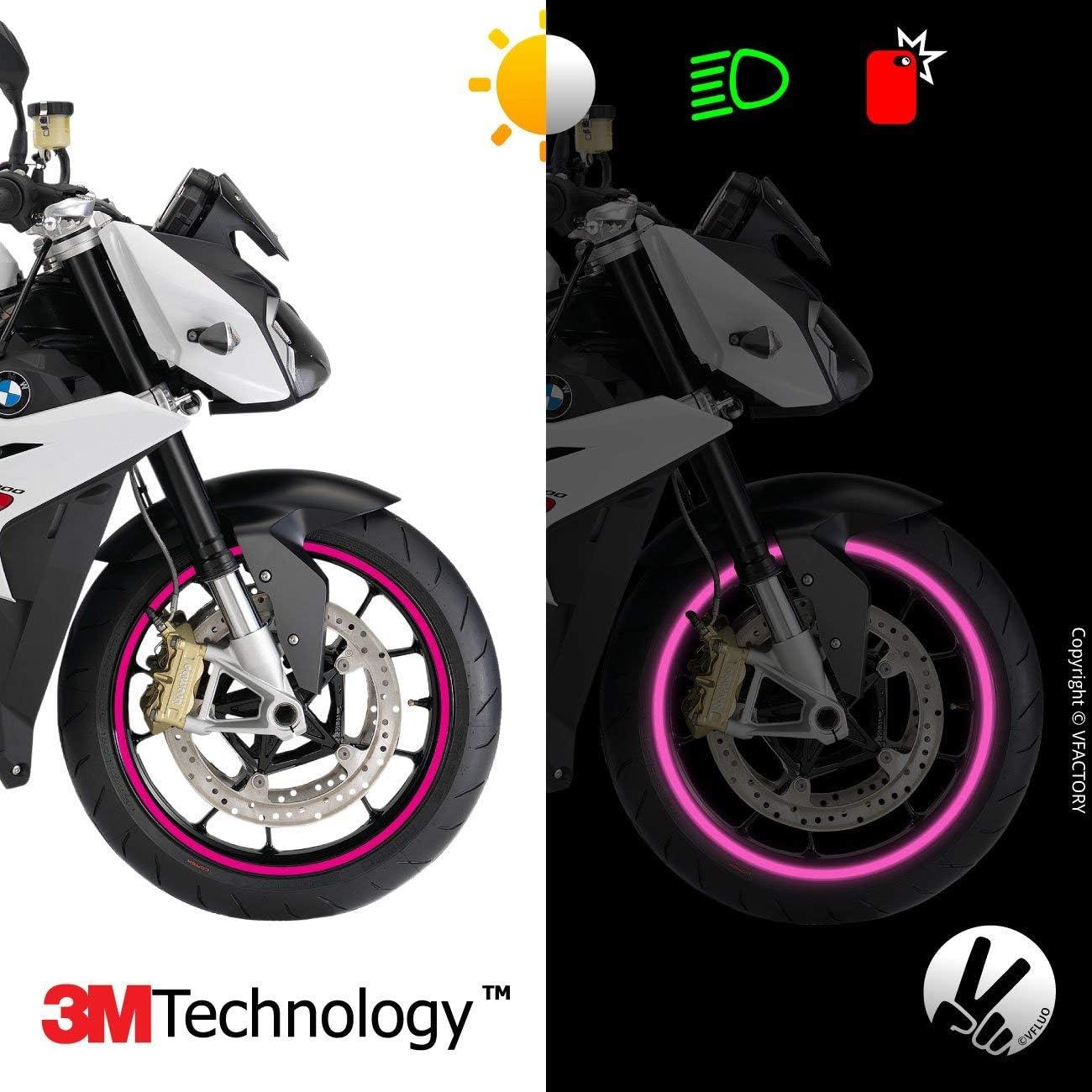 1 wheel 3M Technology VFLUO CIRCULAR motorbike retro reflective wheel stripes kit 7 mm width Yellow
