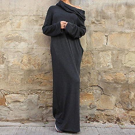 b997643a5c3c Amazon.com: Babigirl Loose Hooded Maxi Dresses Women's Knit Off-Shoulder  Wrap Dress Casual long Sleeves Plus Size Party NEW Autumn Winter Black  XXXL: Garden ...