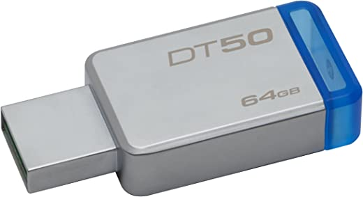 Kingston 64 GB Data traveler DT50 USB 3.1 Flash Drive (Blue)