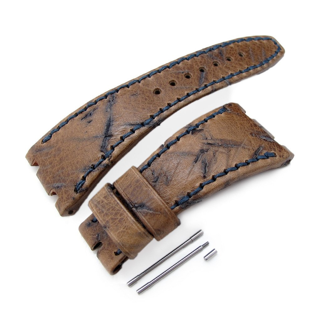 Heavy Scratch Leather of Art Watch Strap for Audemars Piguet Royal Oak Offshore, Navy St by AP Replacement by MiLTAT