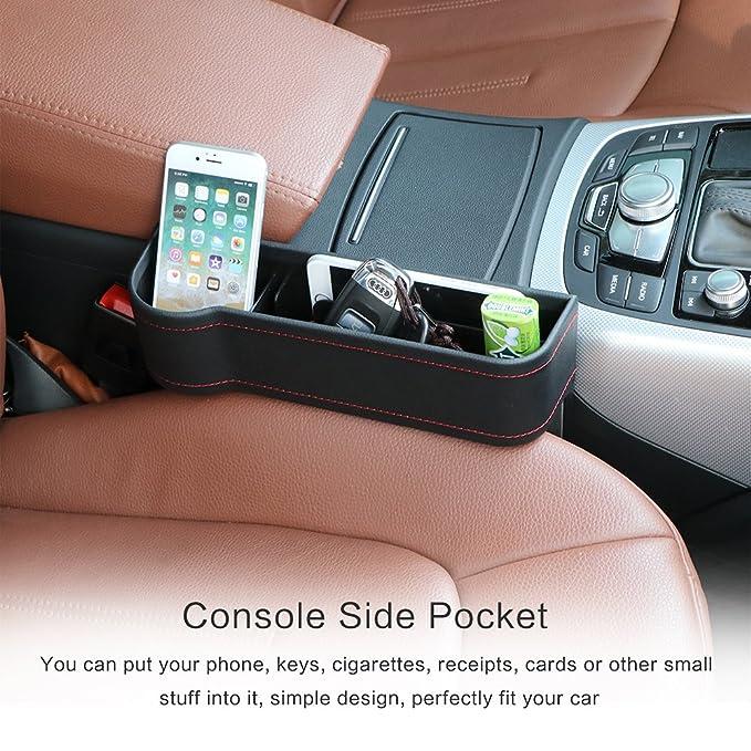 VVHOOY 2 Pack Car Seat Gap FillerPU Leather Console Organizer Pocket Catcher