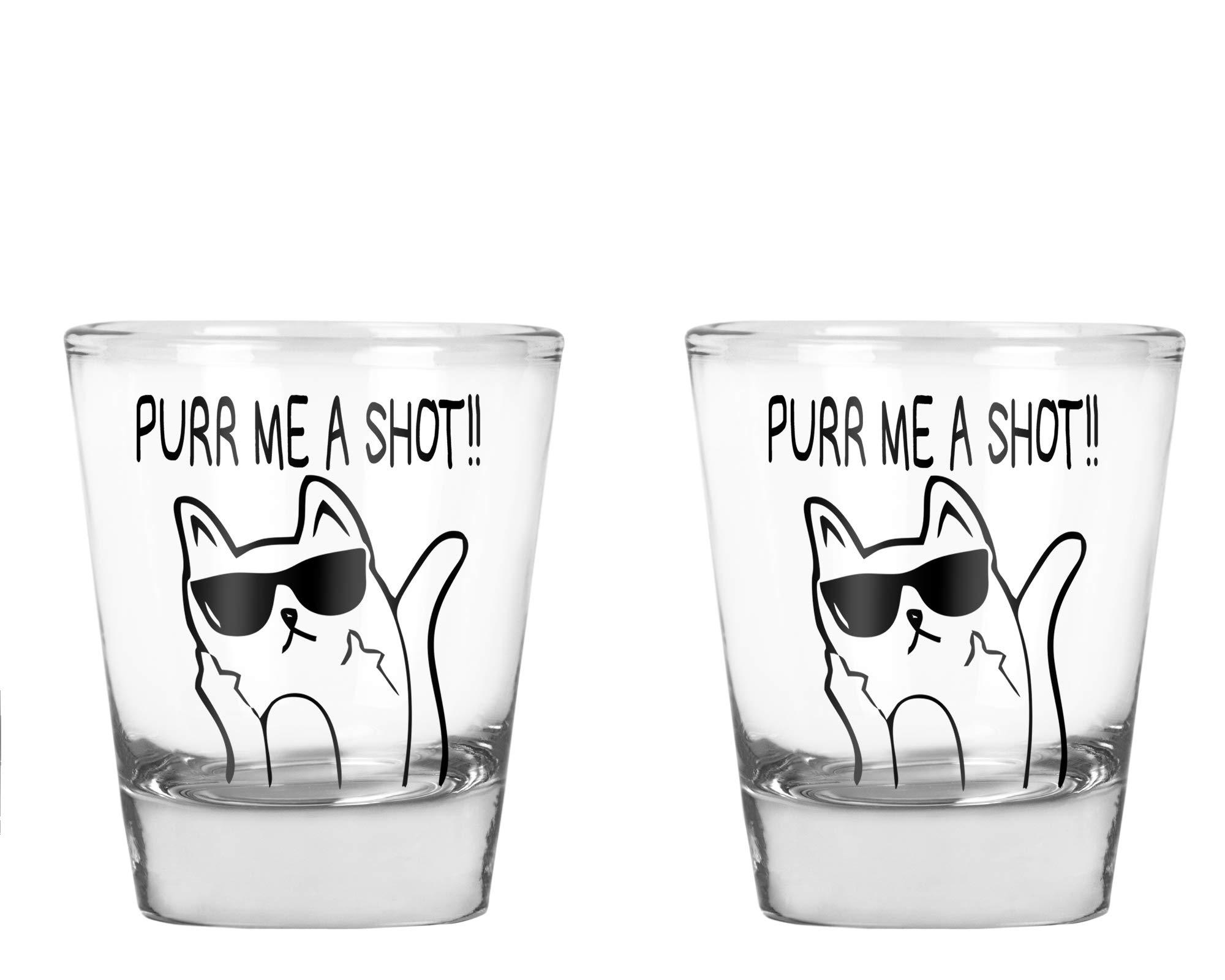 CBTwear - Purr Me a Shot - Funny Cat Gifts, Cat Shot Glass, Funny Middle Finger Cat Humor - 1.75 OZ Shot Glass (2)