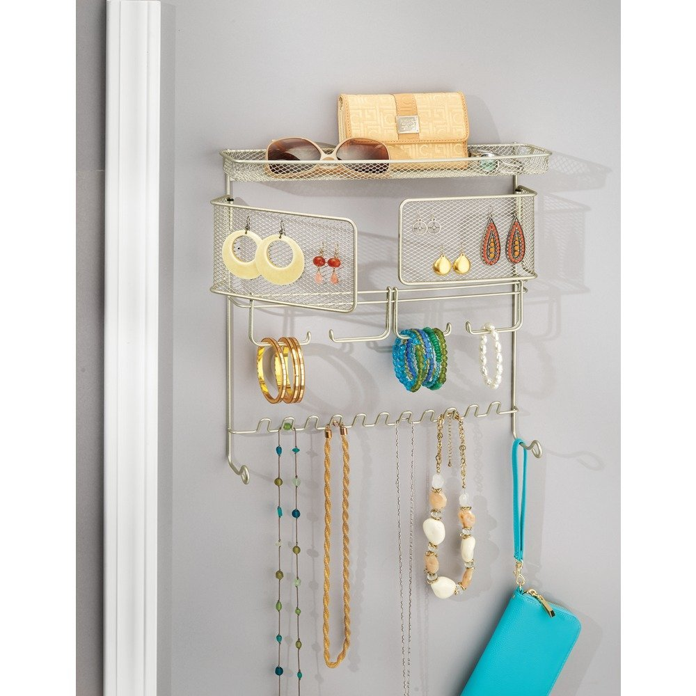 Jewelry Storage Holder for Rings Satin 07245 InterDesign Classico Wall Mount Fashion Jewelry Organizer Bracelets and Necklaces Earrings