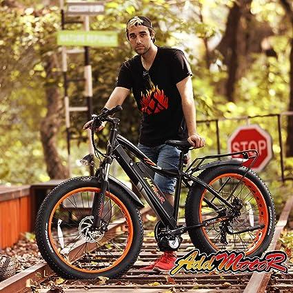 Addmotor MOTAN bicicleta eléctrica de 26 pulgadas, 1000 W, Bafang BBSHD, motor sin escobillas, Ebike 30 MPH 17.5 AH, batería de litio, llanta de grasa, montaña, nieve, bicicleta eléctrica M-5800 para adultos