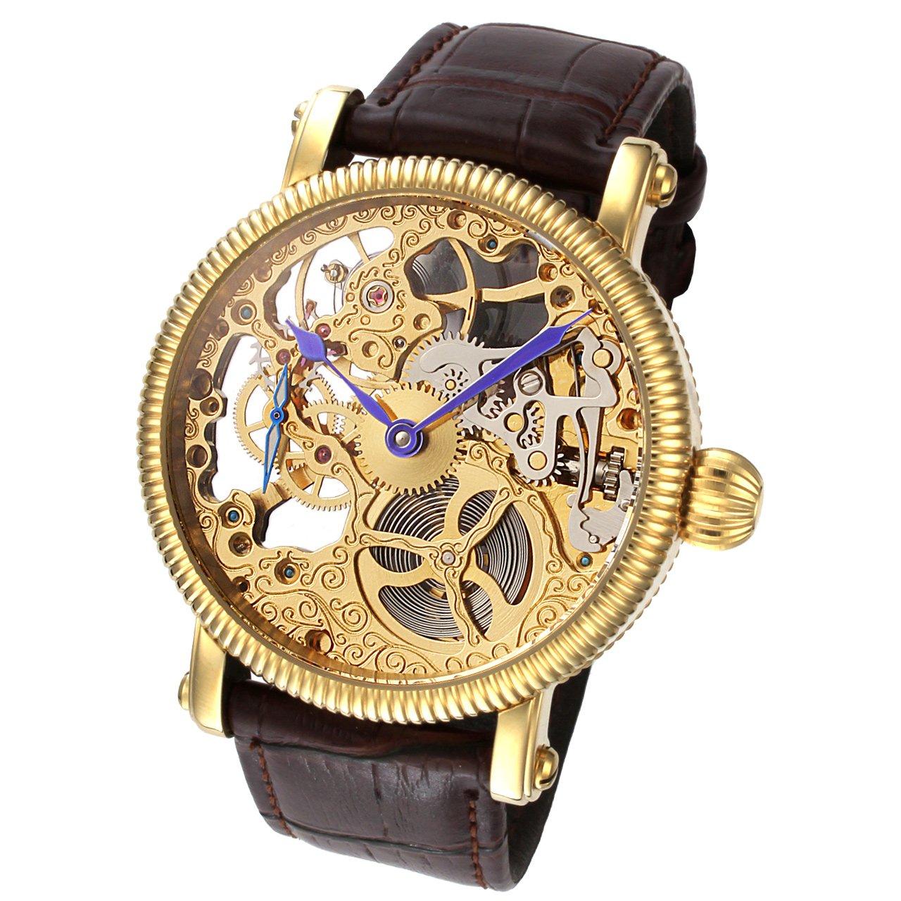 Rougois Mechaniqueゴールドスケルトン腕時計ブラウンレザーバンド B019SBG4MO